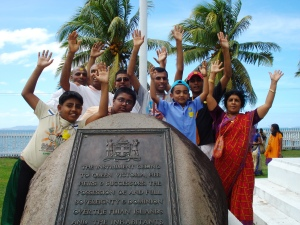 at the historical landmark site in Levuka